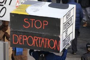 Anti-deportation demonstrator