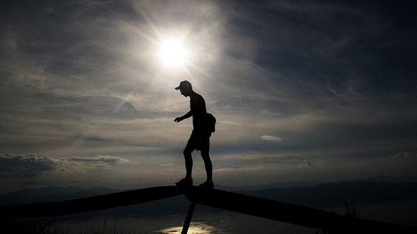 Careful walker silhouette