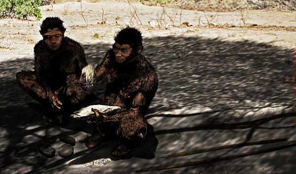 """""""I'm thinking that with a nudge here and a nudge there we can out-compete those neanderthals."""" (Image:  Henry Gilbert and Kathy Schick/CC BY-SA 3.0)"""