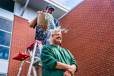 "Remember the ice bucket challenge?  (Photo: ""John Maino performs the ALS Ice Bucket Challenge"" by Chris Rand - Own work. Licensed under CC BY-SA 4.0 via Wikimedia Commons.)"