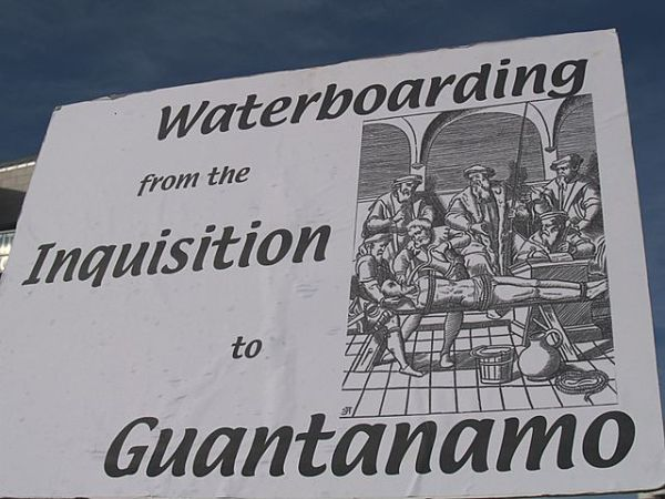 Waterboarding protest sign