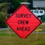 Survey crew roadsign
