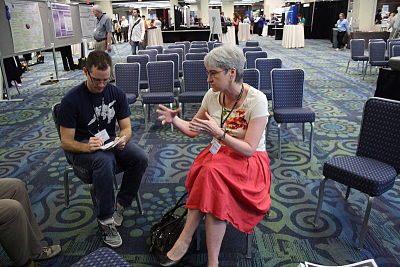 This still works really well, too: at the  2011 Association for Psychological Science convention, a member of APS talks with a reporter.