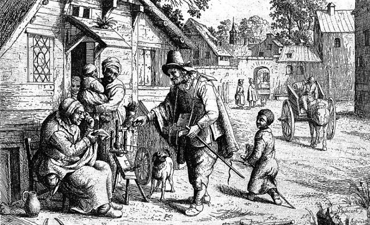 A spectacle pedlar showing his wares to an old woman