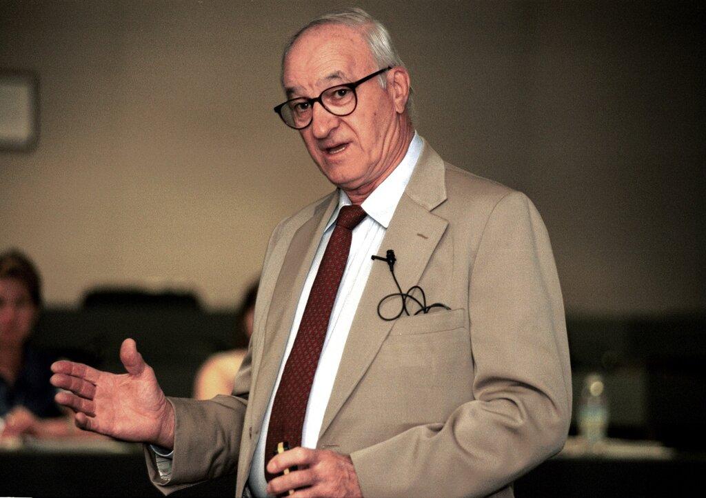 Albert Bandura teaching in a class