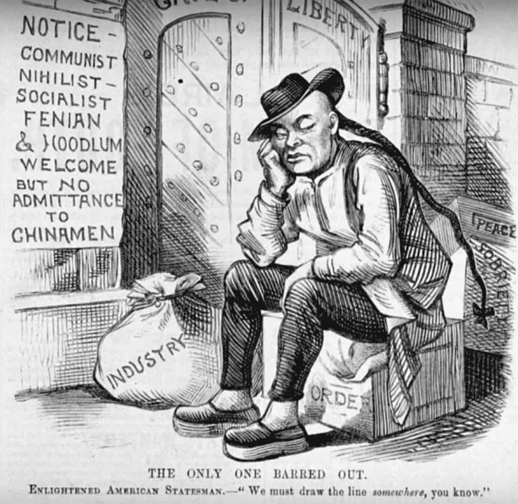 Cartoon showing anti-Asian policies from 1882