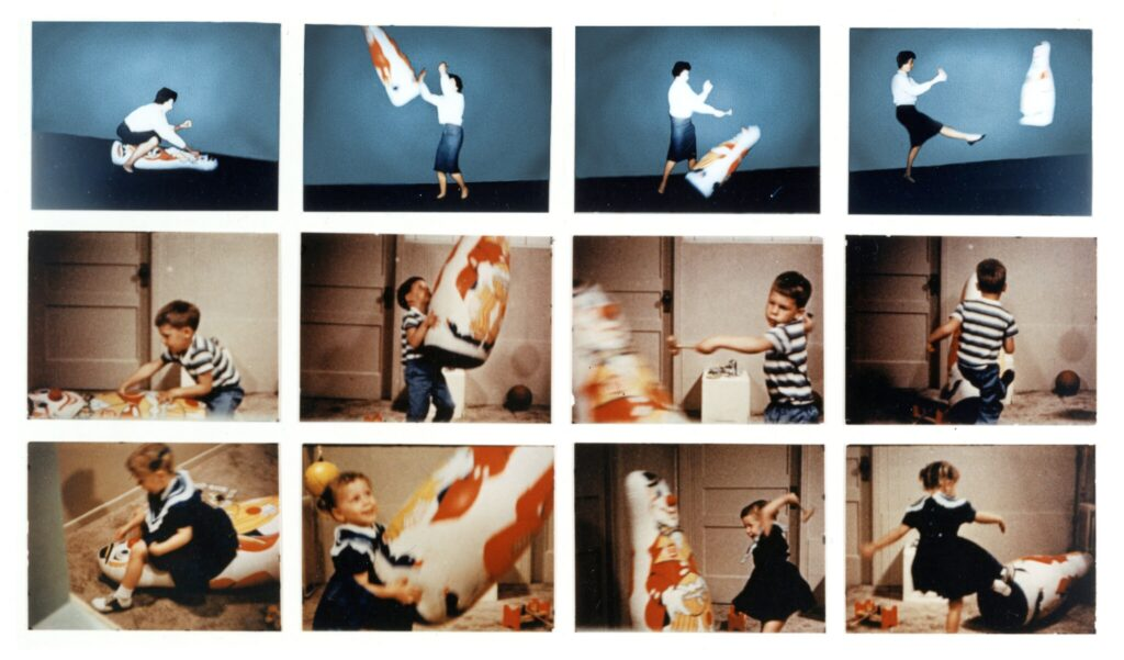 colored photographs of the Bobo Doll experiments conducted by Albert Bandura