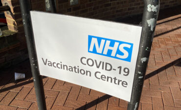 NHS vaccination centre sign