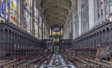 Ornate inside view of Kings College chapel