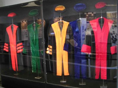 Different color academic gowns