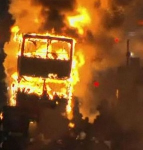 Double-decker bus burning