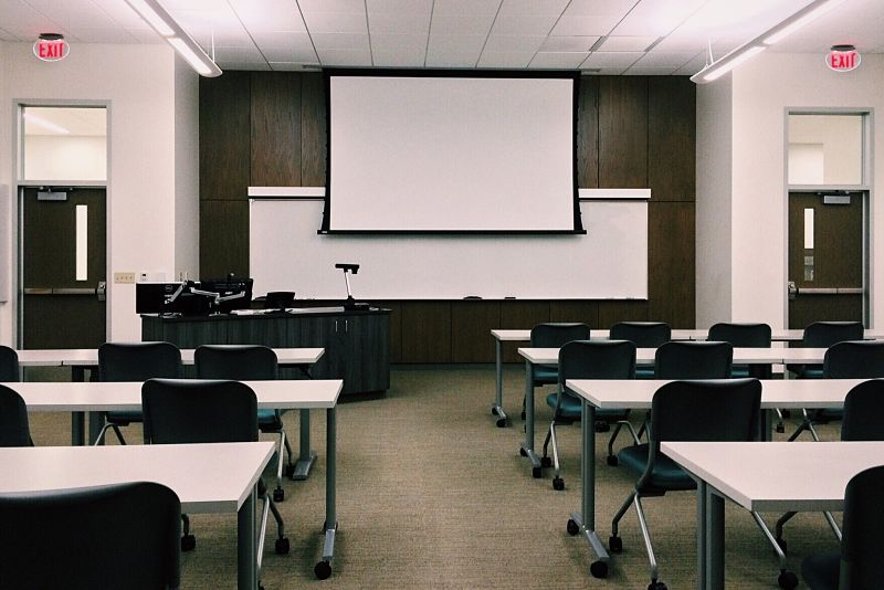 Empty university classroom
