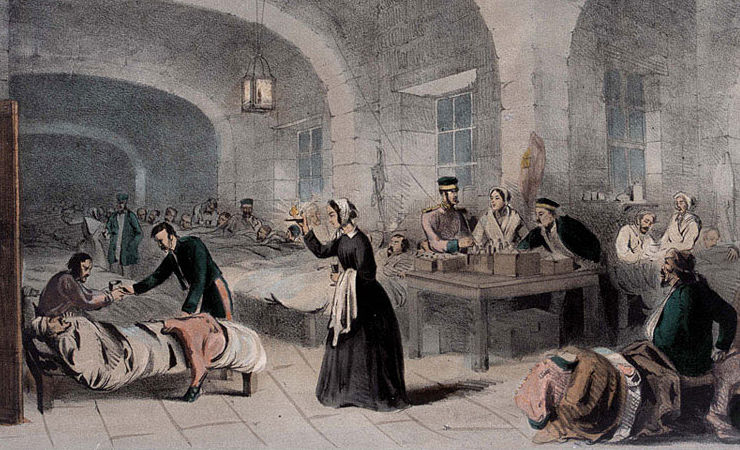 colored lithograph of Nightingale among wounded soldiers