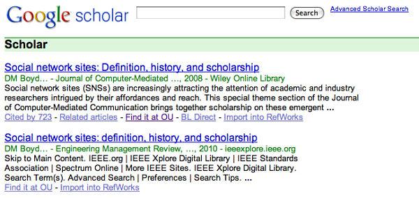 Google Scholar page