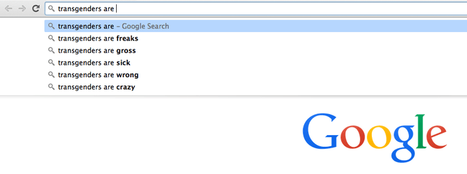 Google autofill for 'transgenders are'