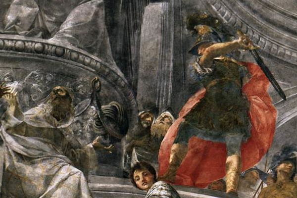 Unfortunately, hacking through the Gordian knot of today's wicked problems is just as mythological as it was in Alexander's time. (Image: Detail from a fresco at Bologna's Palazzo Pepoli Campogrande)