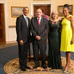 US President Barack Obama and his wife Michelle Obama host Guy Scott and his wife Dr. Charlotte Harland Scott earlier this year.