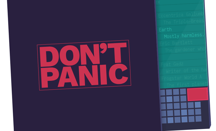Hitchhiker's Guide to the Galaxy cover - Don't panic