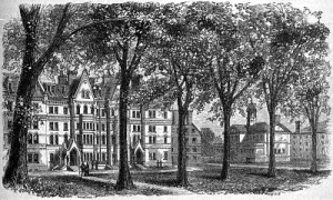 Woodcut of Harvard's Matthews Hall
