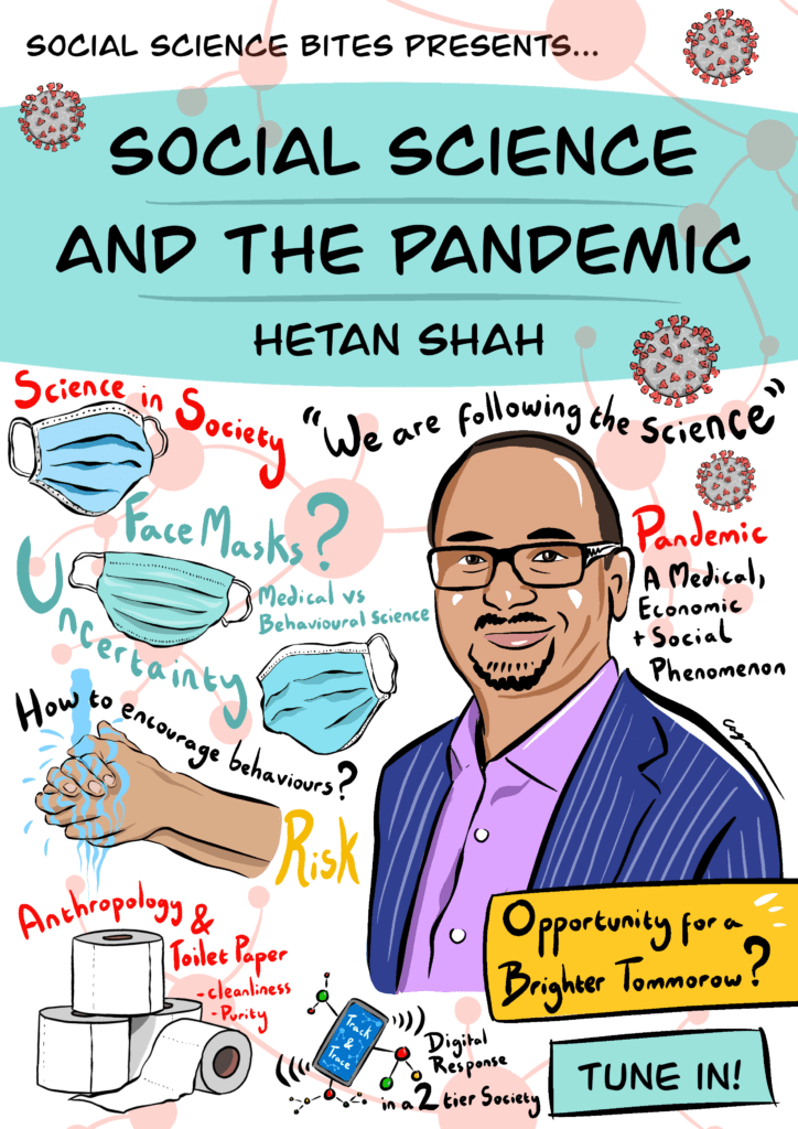 Illustration of Hetan Shah on Social Science and the Covid-19 pandemic