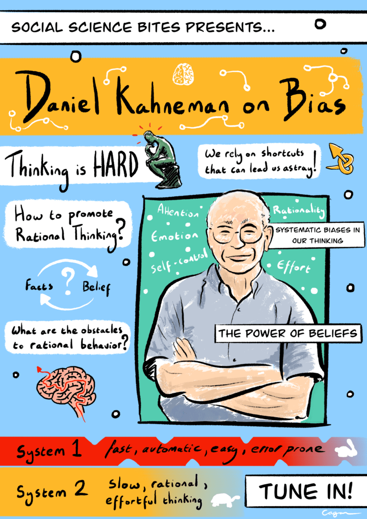 Illustration of Social Science Bites episode Daniel Kahneman on Bias