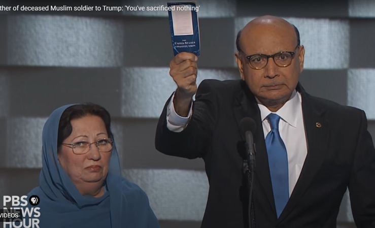 Khizr Khan holds up copy of US Constitution