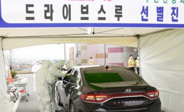 Drive-through Covid testing in Korea