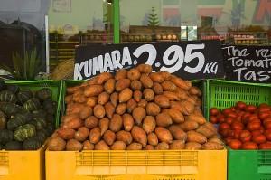 Kumara on sale in New Zealand
