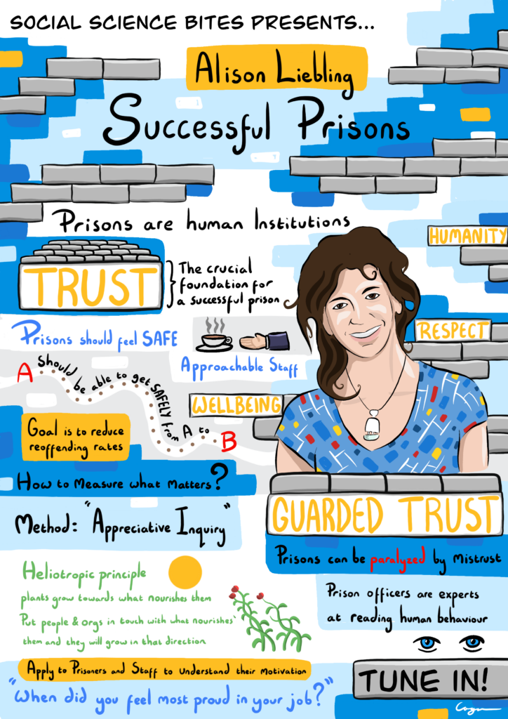 Illustration of Social Science Bites episode Alison Liebling on Successful Prisons