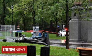 John Macdonald statue toppling captured by bbc