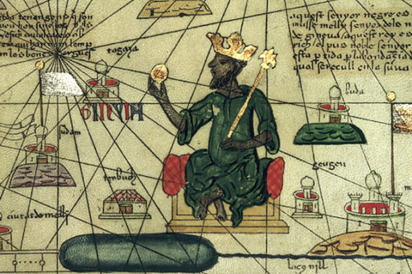 "There's comfortable, then there's richer than anyone could describe."" So chroniclers described the Timbuktu-based Mansa Musa back in the 1300s. (Image: Abraham Cresques of Mallorca)"