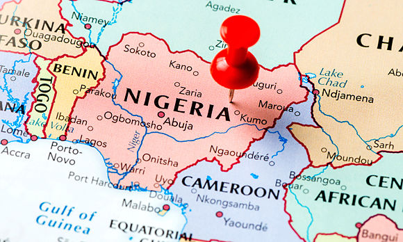 Nigeria pinpointed on map