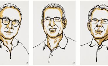 Line drawings of three Nobel Prize winners in economics