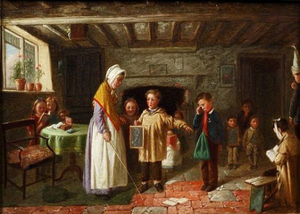 Old painting of schoolroom_opt