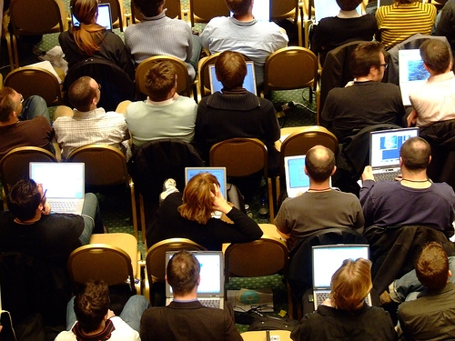 Open computers at conference