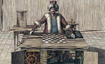 Drawing of original mechanical Turk
