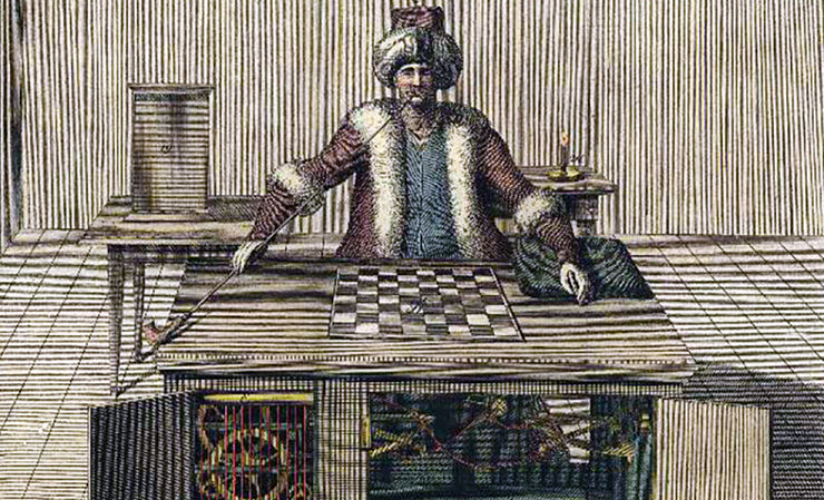 Drawing of the original mechanical Turk