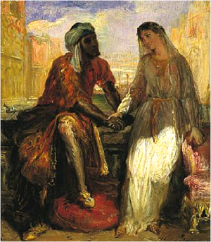 """The subject of intermarriage has also been a leitmotiv in literature over the centuries and later in cinema: Shakespeare's Othello and Romeo and Juliet, Jane Austen's Pride and Prejudice, D. W. Griffith's Broken Blossoms, Robert Wise and Jerome Robbins's West Side Story, Stanley Kramer's Guess Who's Coming to Dinner, Mira Nair's Mississippi Masala, Mina Shum's Double Happiness, Walt Disney's Pocahontas, Ken Loach's Ae Fond Kiss, Gurinder Chadha's Bride and Prejudice, Nia Vardalos's My Big Fat Greek Wedding, and Amma Asante's Belle, among many other examples."" A painting from the 1800s by  Théodore Chassériau of Othello and Desdemona."