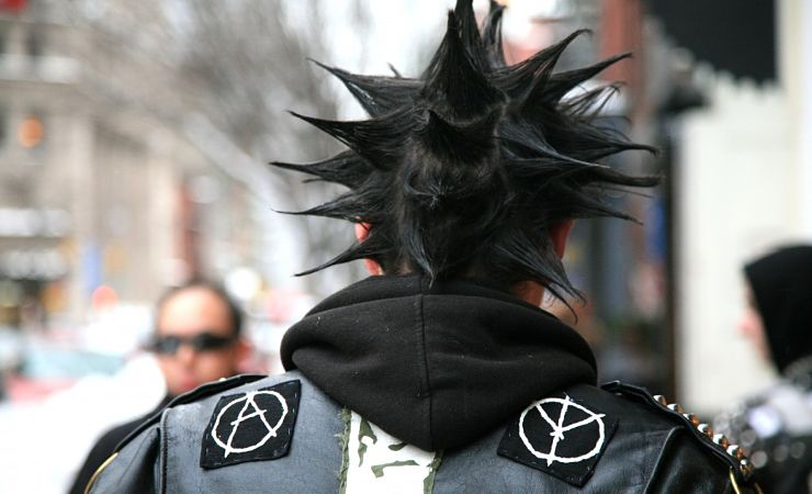 Punk rocker seen from behind