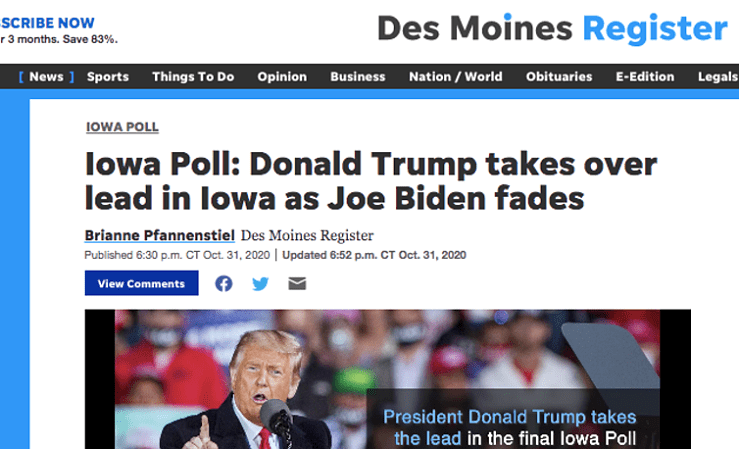 Register screenshot of Iowa poll