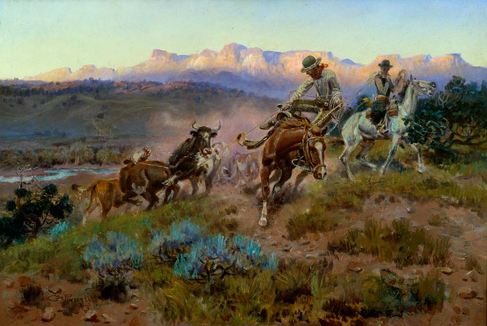 Charles M. Russell painting ofm a cattle roundup
