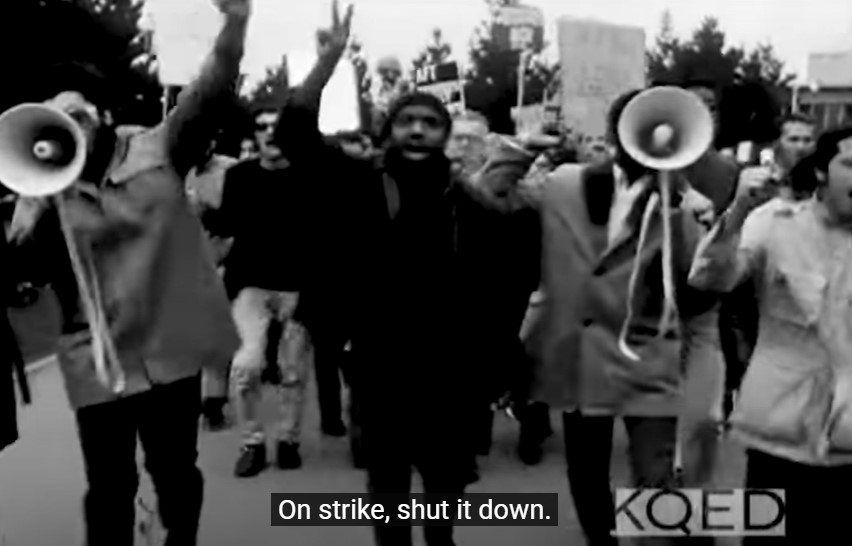 SFSUprotesters march in 1968 strike from KQED video