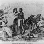 Slavers and traders inspect slave