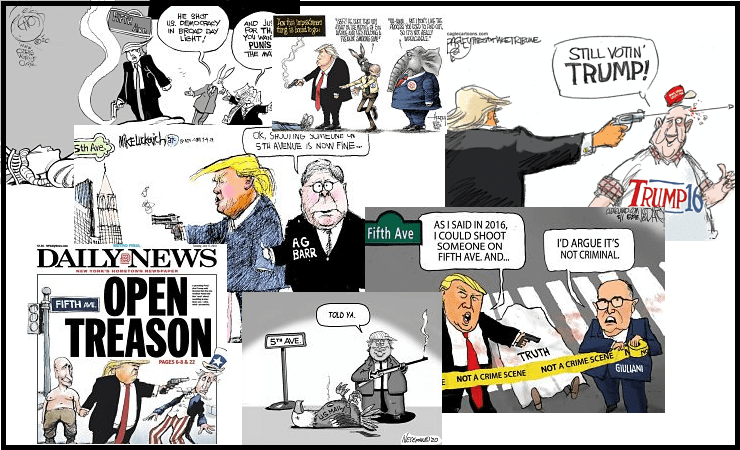Montage of trimp and fifth avenue quote cartoons