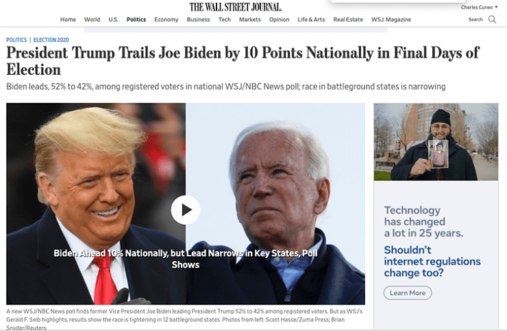News headline shows 10 point lead