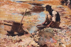 """Discovery is a little easier when you know where to start looking. (Image: Detail from Walter Wither's """"Panning for Gold,"""" 1893)"""