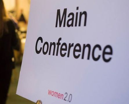 Women 2.0 conference sign