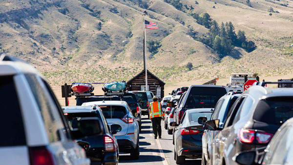 Addressing visitor use of national parks, such as by these motorists queued to enter Yellowstone National Park, is one of three areas open to the new Conway Science Fellowship.  (Photo: Jacob W,. Frank/NPS)