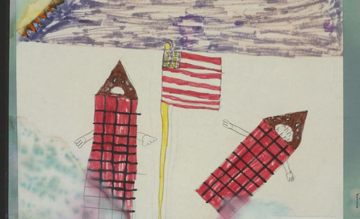 Child's drawing of a tower with hands falling