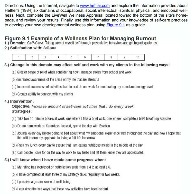 wellness plan for managing burnout